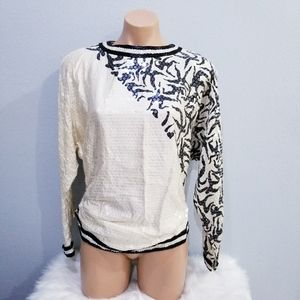 Vintage 80's glam sequin party beaded top blouse 8